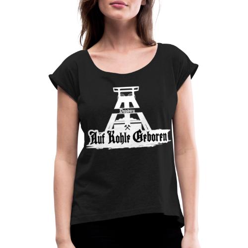 Duisburg White - Frauen T-Shirt mit gerollten Ärmeln