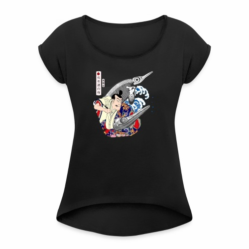 Ichthyosaur Samurai - Women's T-Shirt with rolled up sleeves