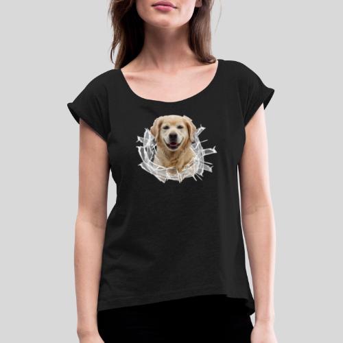 Golden im Glasloch - Frauen T-Shirt mit gerollten Ärmeln