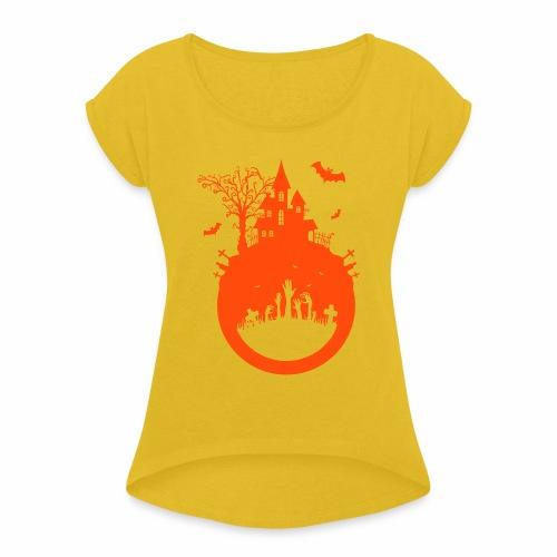 Halloween Design - Das Spukhaus - Frauen T-Shirt mit gerollten Ärmeln