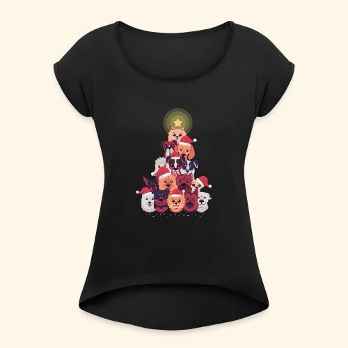 Arbre de Noel avec Adorables Chiens - T-shirt à manches retroussées Femme
