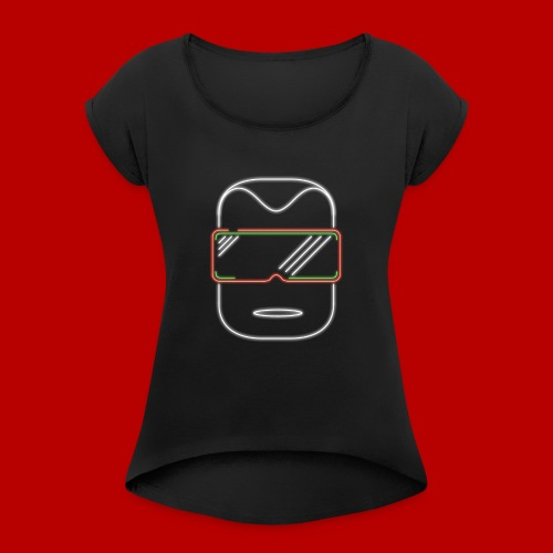 logo kopf - Frauen T-Shirt mit gerollten Ärmeln