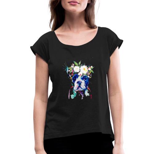 Französische Bulldogge - Frauen T-Shirt mit gerollten Ärmeln