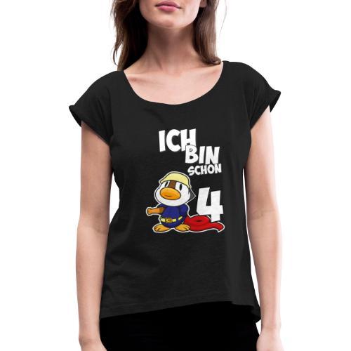 Stolze Feuerwehr Ente 4. Geburtstag Jungen Mädchen - Frauen T-Shirt mit gerollten Ärmeln