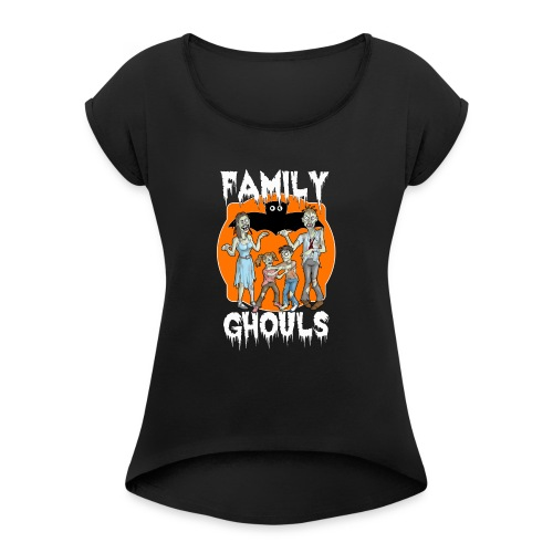 Zombie Family Ghouls Halloween Night Party - Women's T-Shirt with rolled up sleeves