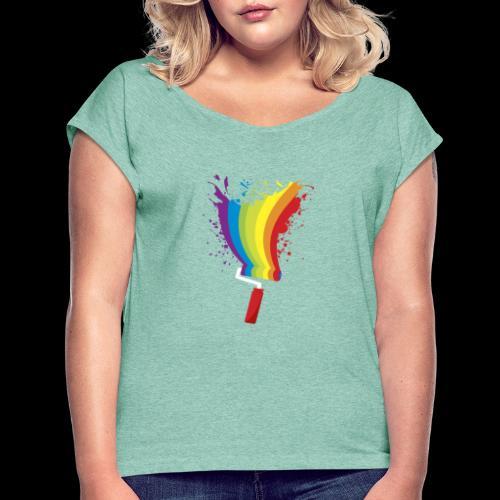 Paint roller Vivid Color - Frauen T-Shirt mit gerollten Ärmeln