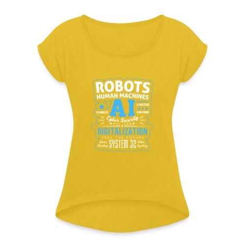 Robots Human Machine Ai Cyber Security - Maglietta da donna con risvolti