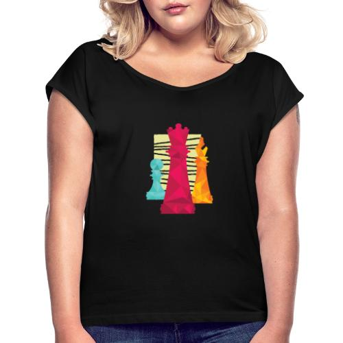 Schach Figuren Bauer König Läufer - Frauen T-Shirt mit gerollten Ärmeln