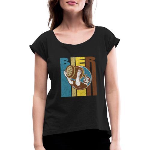 Bier Logo Retro - Frauen T-Shirt mit gerollten Ärmeln