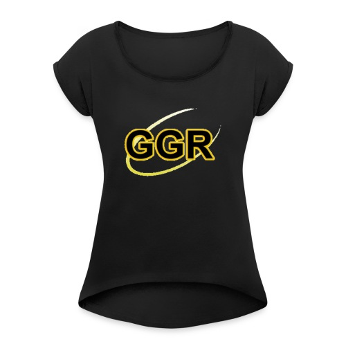 GOLDEN GROOVES RADIO LOGO - Women's T-Shirt with rolled up sleeves