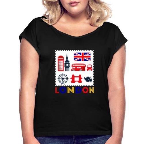 Vintage London Souvenir - Retro Briefmarke London - Frauen T-Shirt mit gerollten Ärmeln