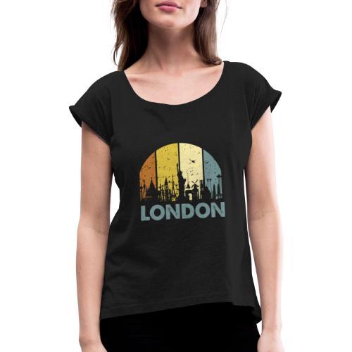 Vintage London Souvenir - Retro Skyline London - Frauen T-Shirt mit gerollten Ärmeln