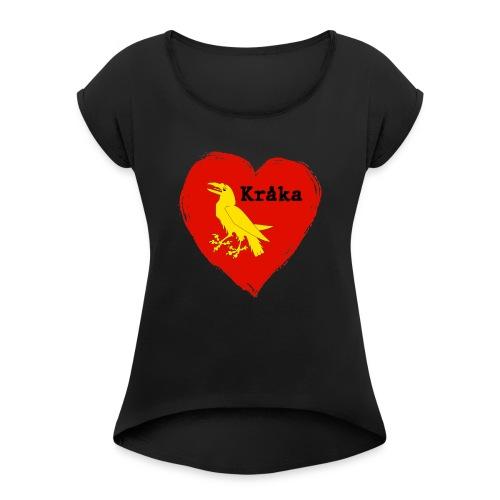 Kråka - T-skjorte med rulleermer for kvinner