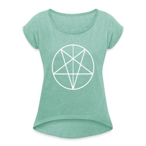 666 - Camiseta con manga enrollada mujer