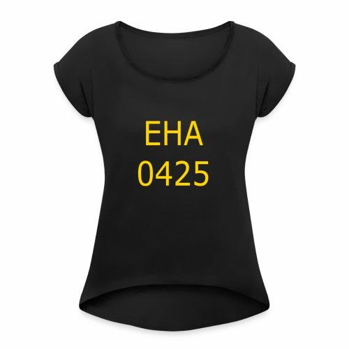 EHA TRYCK KEPS, MÖSSA - T-shirt med upprullade ärmar dam