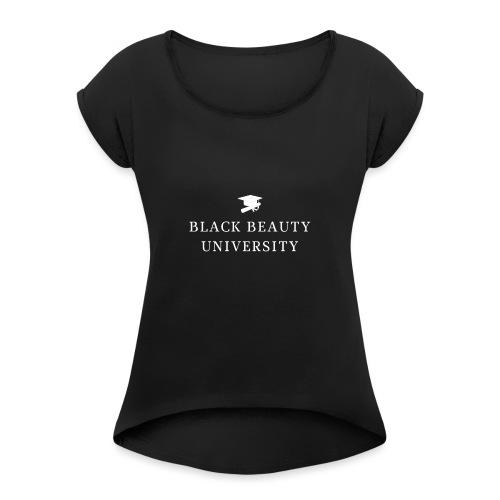 BLACK BEAUTY UNIVERSITY LOGO BLANC - T-shirt à manches retroussées Femme