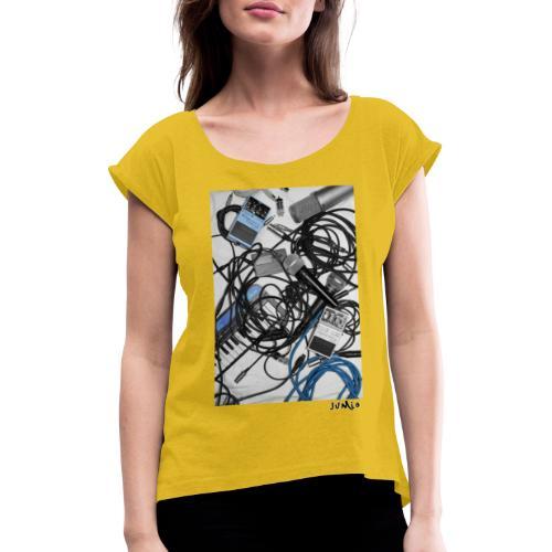 Jumio Print - Naisten T-paita, jossa rullatut hihat