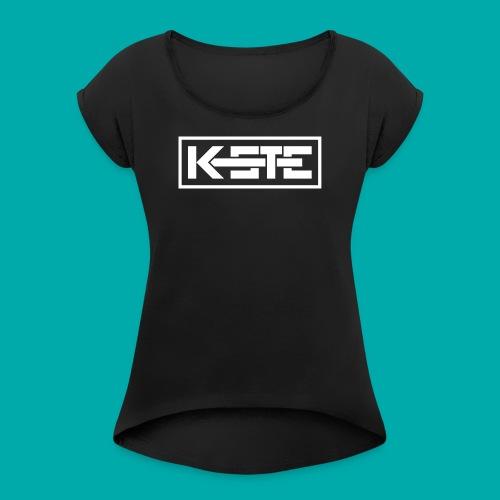 K-STE Logo weiß - Frauen T-Shirt mit gerollten Ärmeln