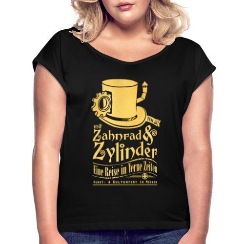 ZuZ 2019 + Brust- & Rückenmotiv - Frauen T-Shirt mit gerollten Ärmeln