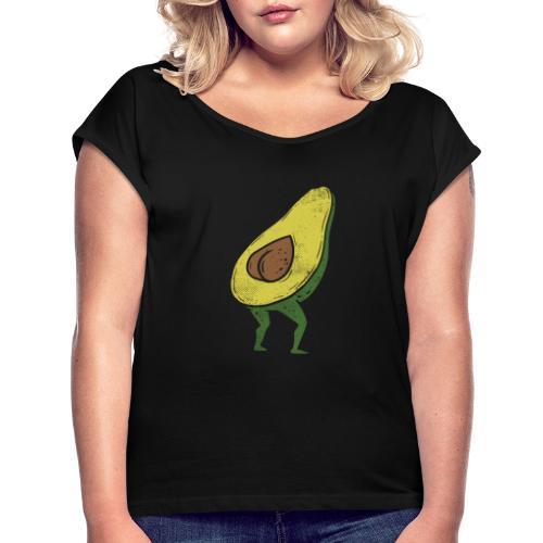 Lustige Avocado Po Frucht - Vegan Guacamole - Frauen T-Shirt mit gerollten Ärmeln