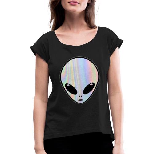 1NE 7EVEN - Camiseta con manga enrollada mujer