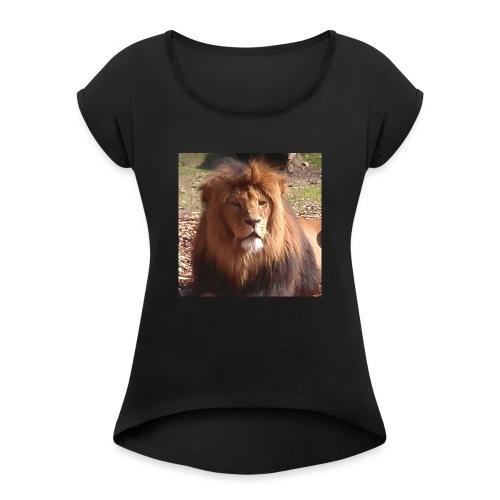 Lejon - T-shirt med upprullade ärmar dam