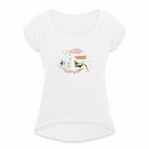 Pintular - Camiseta con manga enrollada mujer