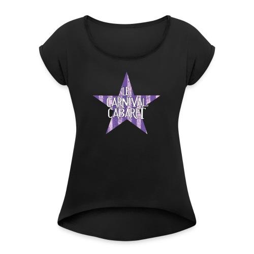 bonnet LCC noir etoie violette - Women's T-Shirt with rolled up sleeves