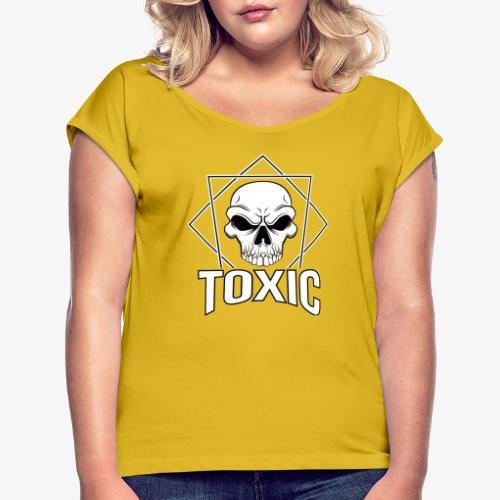Toxic Skull - Dame T-shirt med rulleærmer