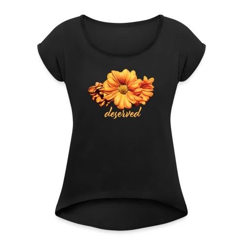 NLTS Flower - T-shirt med upprullade ärmar dam