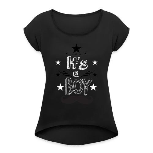 Tshirt Femme Enceinte grossesse tee shirt - T-shirt à manches retroussées Femme
