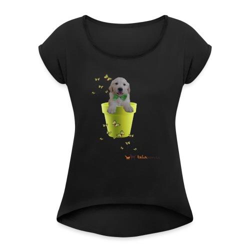 Cucciolo Golden Retriever in-vaso dalle farfalle - Maglietta da donna con risvolti