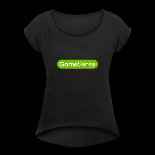 Clothing with green gamesense.pub - logo - Women's T-Shirt with rolled up sleeves