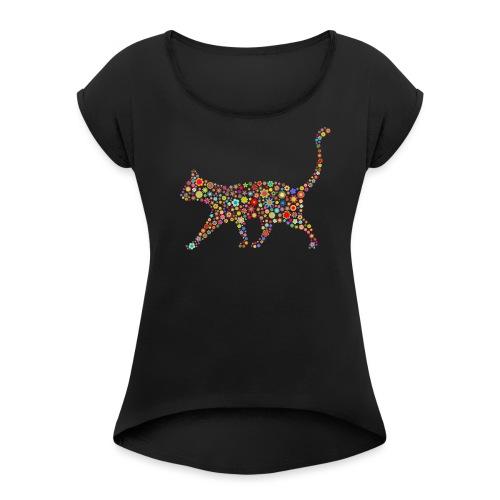flower cat - Frauen T-Shirt mit gerollten Ärmeln