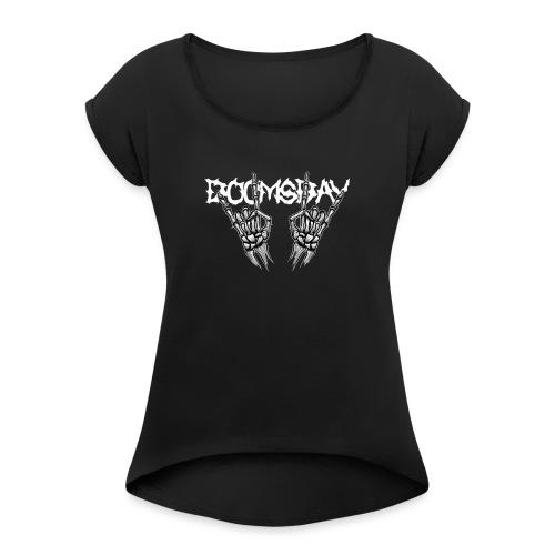 Doomsday logo white - T-shirt med upprullade ärmar dam