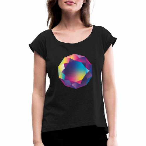Diamond geometric illustration - Women's T-Shirt with rolled up sleeves