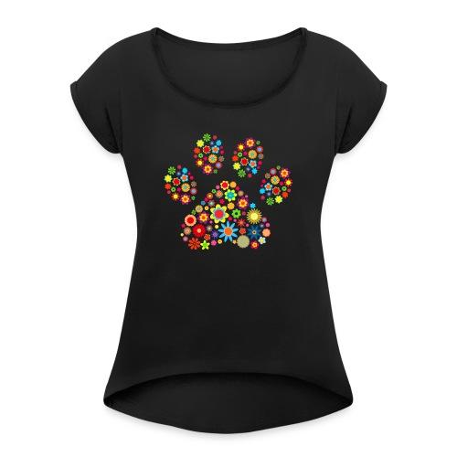 Vorschau: flower dog paw cat - Frauen T-Shirt mit gerollten Ärmeln