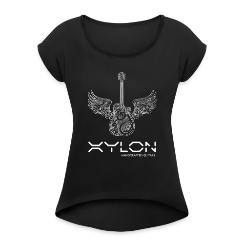 Xylon Guitars Premium T-shirt (white design) - Women's T-Shirt with rolled up sleeves