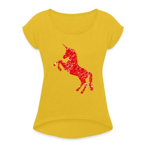 unicorn red - Koszulka damska z lekko podwiniętymi rękawami