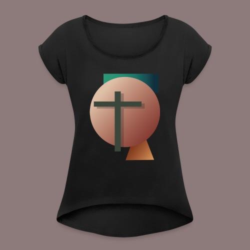Retro Cross - Frauen T-Shirt mit gerollten Ärmeln