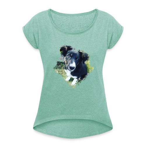 colliegermanshepherdpup - Women's T-Shirt with rolled up sleeves