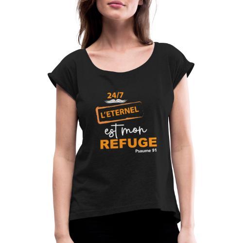24 7 eternel mon refuge orange blanc - T-shirt à manches retroussées Femme