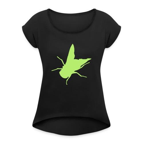 fliege - Frauen T-Shirt mit gerollten Ärmeln