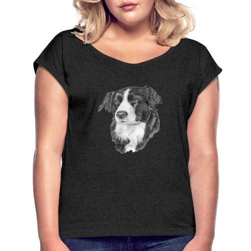 border collie 1 - Dame T-shirt med rulleærmer
