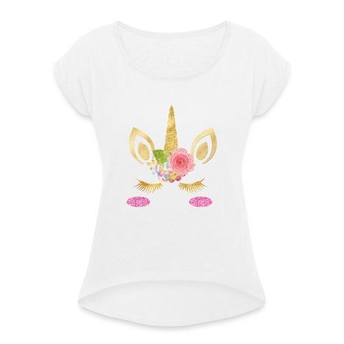 unicorn face - Frauen T-Shirt mit gerollten Ärmeln