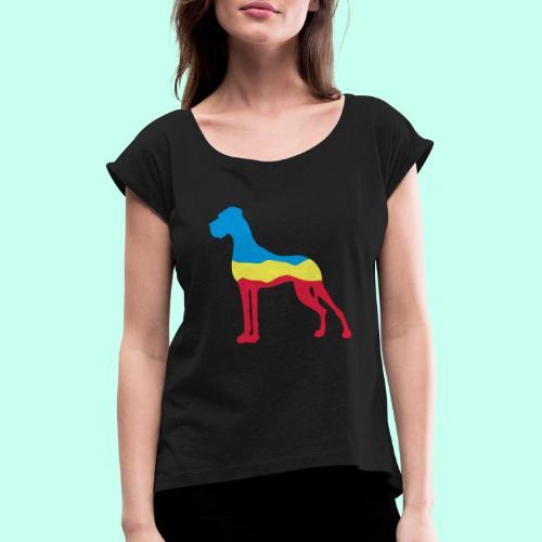Flaggen Dogge - Frauen T-Shirt mit gerollten Ärmeln