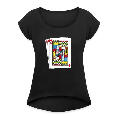 King Playing Card holding a Spraycan - Vrouwen T-shirt met opgerolde mouwen