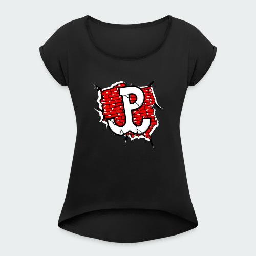 Damska Koszulka Patriotyczna Premium - Koszulka damska z lekko podwiniętymi rękawami