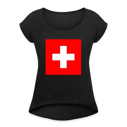 Flag_of_Switzerland - Frauen T-Shirt mit gerollten Ärmeln
