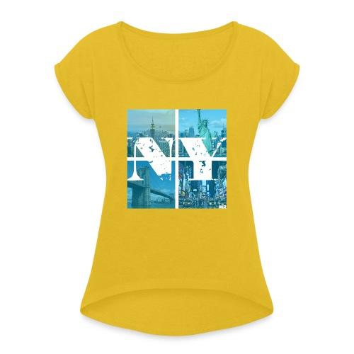 NEW YORK BLUE - Frauen T-Shirt mit gerollten Ärmeln